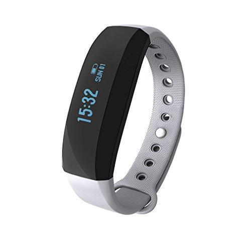 Dalkey123 Pulsera Inteligente | Podómetro Monitor Calorías Sueño Ritmo Cardíaco | Pantalla OLED 0.88 Pulgadas | IP65 Prueba Agua | Gris