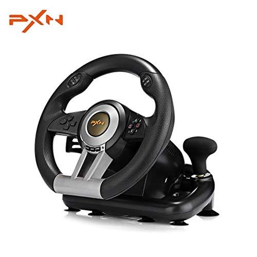 Pxn V3ii Jeu de Course de Volant à 180degrés USB Ordinateur contrôleur de Jeu de Voiture Simulateur de Conduite pour PC PS3PS4Xbox (Noir)