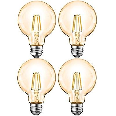 4 Pack G25 LED Bulb 8W E26 Amber LED Bulb Dimmable 75W Equivalent 2200K Warm White Vintage Edison Bulb for Home Decorative Light Bulbs, for Bathroom, Bedroom & Living Room Globe Vanity Light Bulbs