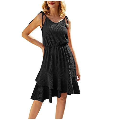 MRULIC Damen Sommerkleider Camisole Einfarbig A-Line Casual Minikleid Party Rockabilly Kleid Casual Strandkleider Elegant Schicker Saum Mit RüSchen(Schwarz,XL)