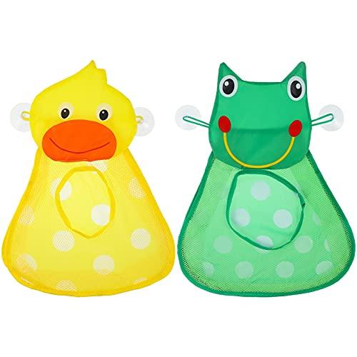 SOSPIRO 2 Stück Bad Spielzeug Veranstalter, Badewanne Spielzeug Aufbewahrungs Beutel Niedlichen Kleinkind Spielzeug Lagerung mit 2 Starke Saugn