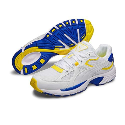 Puma AXIS Plus 90s Unisex Fitnessschuhe Sneaker Turnschuhe 370287 White Yellow, Größe:UK 6 - EUR 39-25 cm