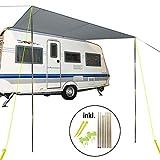 Tendalino parasole per roulotte e camper, dimensioni: 3,50 m x 2,4 m, per guide scanalate da 7 mm, colonna d'acqua: 2000 mm, colore: grigio, paletti di posizionamento inclusi.