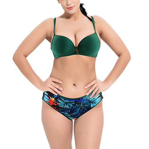 Valin Bikini de dos piezas para mujer, tallas grandes, espalda descubierta, secado rápido, S2052, verde, 44