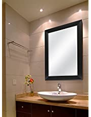 Creative Arts n Frames Sober Fiber Wood Solid Premium Water Resistant Wall Mirror (15 X 21 Inch, Black)