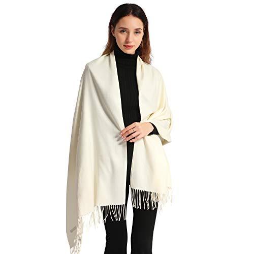 Women Cashmere Scarf Soft Pashmina Scarves Large Stylish Warm Blanket Solid Winter Shawl Elegant Wrap 78.5'x27.5' (Cream, Bag packing)