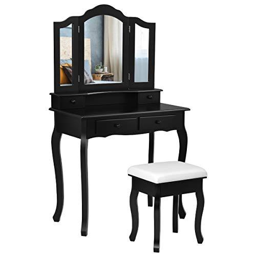 COSTWAY Schminktisch mit Hocker, Frisiertisch mit 3-teiligem klappbarem Spiegel, Frisierkommode mit 4 Schubladen, Make-Up-Tisch Kosmetiktisch mit abnehmbarem Oberteil (Schwarz)