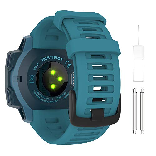 MoKo Correa Compatible con Instinct/Instinct Esports/Instinct Tactical/Instinct Solar/Camo/Surf/Tide Reloj con GPS, 22mm Pulsera de Repuesto Deportiva de Silicona Suave, Azul Lago