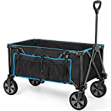 Navatiee Collapsible Folding Wagon, Heavy Duty Utility Beach Wagon Cart with...