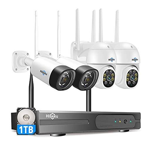 Hiseeu Wireless Security Camera System 3MP PTZ...