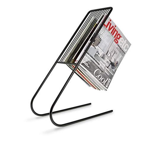 Nordic smeedijzeren boekenplank, eenvoudige en moderne creatieve vloer staande kantoor boekenplank tijdschriftenrek Zwart
