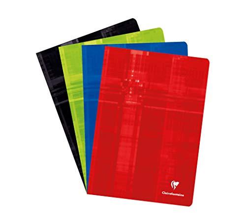 Clairefontaine 31244C - Cuaderno grapado A4 cuadriculado 4/4 de 80 páginas, colores surtidos