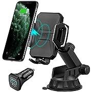 CHOETECH Cargador Inalambrico Auto,Car Wireless Charger Carga Rápida Soporte Celular Coche con Ventosa 7.5W para iPhone XS/XS MAX/XR/X/8 Plus/8, 10W para Samsung Galaxy S9 / S8 / Note 9 / Note 8