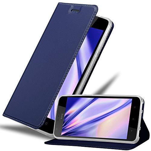 Cadorabo Hülle für HTC Desire 10 Lifestyle/Desire 825 - Hülle in DUNKEL BLAU – Handyhülle mit Standfunktion & Kartenfach im Metallic Erscheinungsbild - Case Cover Schutzhülle Etui Tasche Book Klapp Style