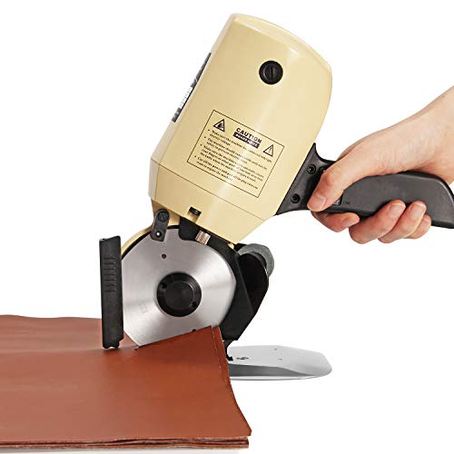 CGOLDENWALL YJ-100 Electric Industrial Cloth Cutter Scissors Octagonal Fabric Cutter Cutting Machine with Blade Diameter 100mm Ideal for Cloth Textiles Paper Leather Rubber Curtain and Carpet