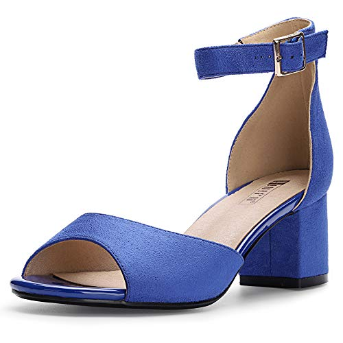 IDIFU Women's Candie Low Block Heels Sandals Peep Toe Chunky Ankle Strap Wedding Dress Shoes (5 M US, Royal Blue Suede)