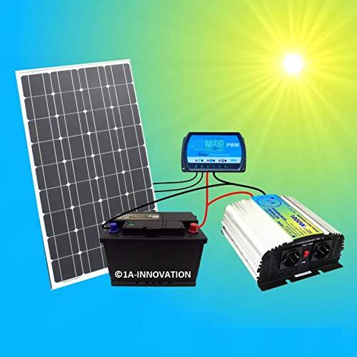 1A-INNOVATION SOLAR VORSPRUNG DURCH SONNENENERGIE 100W Solaranlage Komplettpaket 220V TÜV Komplettset Qualitäts Akku 100Ah wartungsfrei 100W Hochleistungs Solarmodul 1000W Qualitäts Spannungswandler