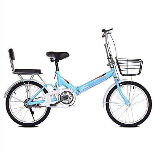 20 Pulgadas Bicicleta Bici Ciudad Plegables Adulto Hombre Mujer, Bicicleta de Montaña Btt MTB Ligero Folding Mountain City Bike Doble Suspension Bicicleta Urbana Portátil, H042ZJ