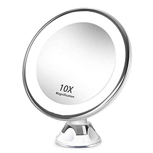Cimoto 10 Grossissant Maquillage Miroir de Toilette Portable vec LED LumièRe Ventouse 360 Degré Rotation Maquillage Loupe Maison de Bureau Salle de Bains