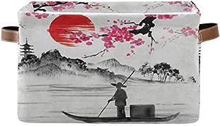 Doshine Panier de rangement pliable avec poignées Motif paysage japonais