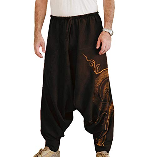 JiXuan New Hip Hop Aladdin Hmong Baggy Lino in Cotone con Pantaloni Larghi da Uomo Plus Size Pantaloni a...