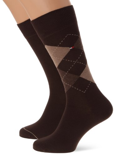 Tommy Hilfiger Herren TH Men Check 2P  Business Socken,  Braun (937 Kensington Brown),  43-46