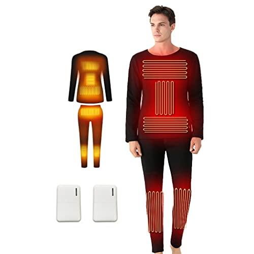YYWER Conjunto de Ropa Interior térmica con calefacción eléctrica para Hombres, con Banco de energía, Traje de compresión Deportiva de Capa Base, Temperatura Ajustable Black-XL