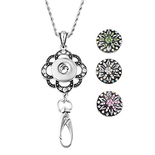 Souarts Womens Office Lanyard ID Badges Holder with 3pcs 5.5mm Size Snap Charms Jewelry Pendant Clip (Flower 2)
