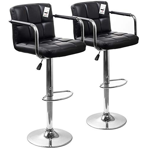 Display4top Taburetes de Bar, con Estructura cromada, sillas giratorias de 360 Grados, Acolchadas Blandas, Juego de 2 (Negro/reposabrazos)