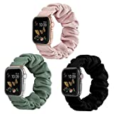 Compatible for Scrunchie Apple Watch Band 38mm 42mm 40mm 44mm Cute Print Elastic Watch Bands Women Bracelet Strap Compatible for Apple iWatch Series 6 5 4 3 2 1(3 Pack, 38/40mm-Small)