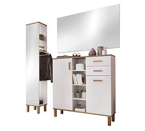 lifestyle4living Garderoben-Set in Weiß und Eiche, 3-teilig, Spiegel, Spiegelregal, Highboard