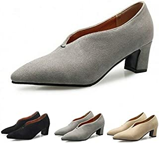 Women's Faux Suede Solid Pointy Toe Loafer Shoes Casual Block Mid Heels Pumps SZ