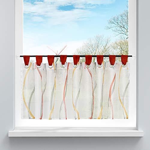 HongYa Scheibengardine Transparenter Voile Bistrogardine mit Schlaufen Wellen Muster H/B 45/120 cm Bunt Rot