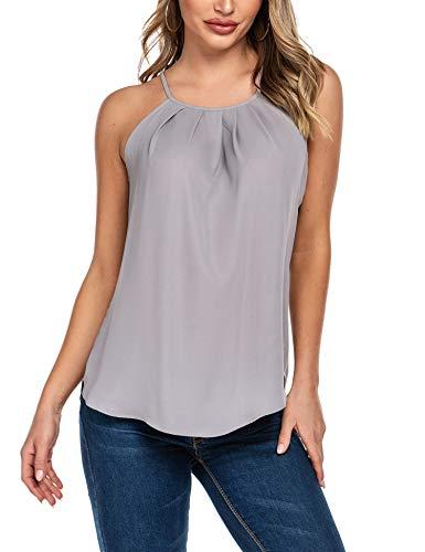 Beyove Damska bluzka bez rękawów, szyfonowa bluzka na lato, spaghetti, dekolt w kształcie litery V, elegancka, kamizelka, bluzka koszulowa, dwuwarstwowa, luźny krój, koszulka górna