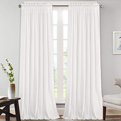"Natural Rich Linen Curtains Semi Sheer for Bedroom/Living Room/Dining | Rod Pocket Textured Flax Window Curtain Drapes Privacy Added Light Reducing Soft Curtains 2 Panels (Pure White, 52"" W x 108"" L)"
