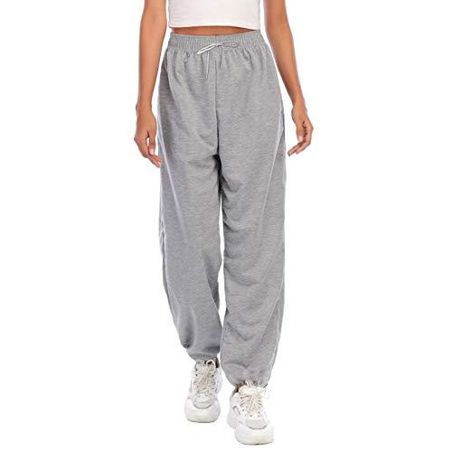 beifon Harem Pantalón Chandal Mujer Largo Pantalón Deportiva Mujer Pantalones Jogging con Cintura Alta Elástico Pantalón de Deporte Yoga Fitness Jogger Gimnasio Sweatpants Casuales Mujer (Gris, S)