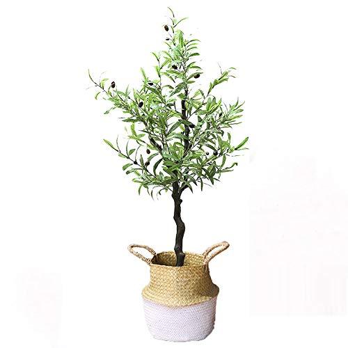 Yipianyun Palme Palmenbaum Königspalme, Cocospalme Kunstpflanze Kunstbaum Künstliche Pflanze Echtholz Hochzeit/Party Empfangstisch Blumen,Weiß,120