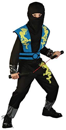 Magicoo Drago Ninja Costume per Bambini Ragazzi Blu Nero Taglie: 4-12 Anni – Costume di Carnevale Travestimenti Ninja Ragazzo (4-6 Anni)