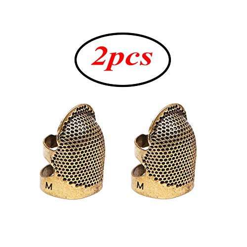 Sewing Thimble 2 Pack Sewing Thimble Finger Protector,Adjustable Finger Metal Shield Protector Pin Needles Sewing Quilting Craft Accessories