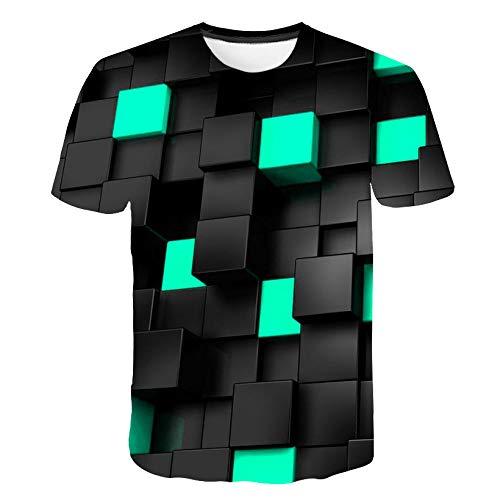 T-fashion shop Camiseta de Manga Corta Unisex 11D Estampada para Verano,3D Interesante Tridimensional Camiseta a Cuadros Camiseta de Manga Corta para hombre-13_5XL
