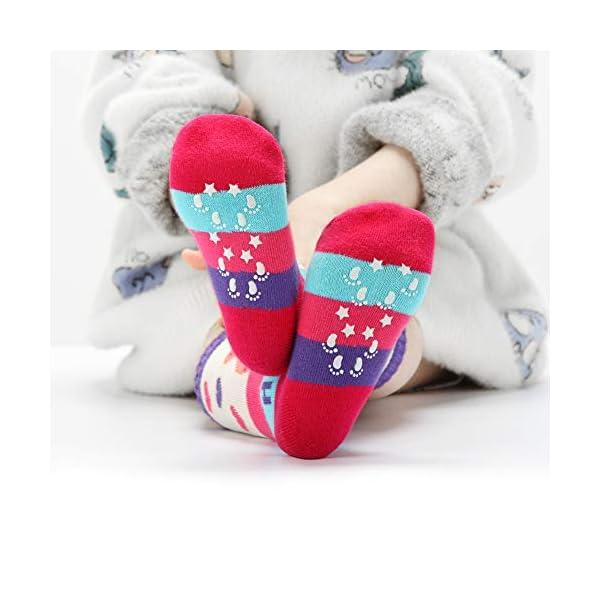 6 Pairs Toddler Girl Knee High Grips Socks, Baby Socks Girl School Socks Anti Slip for Kids
