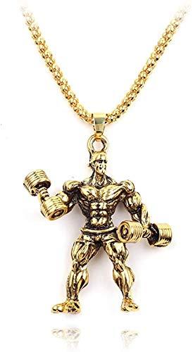 CCXXYANG Co.,ltd Collar Tridimensional Atlético Hombre Musculoso Fitness Colgante Collar Hip-Hop Estilo Callejero Masculino Collar Gótico Joyería Rapero Cadena Regalo