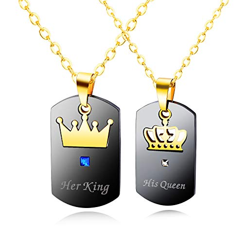 Gkmamrg Par de colgantes para hombre y mujer, con cadena, de acero inoxidable, con grabado «His Queen y Her King», color blanco y negro