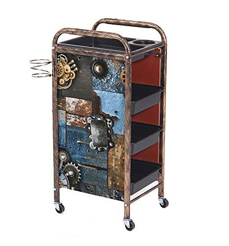 Carro de peluquería retro Gear Storage Cart 5/4 niveles Salon SPA Coloring Beauty Salon Secador de pelo con 4/3 cajones para Tool Car