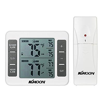 KKmoon Digitales Thermo Hygrometer mit 1 Außensensor, Großem LCD Bildschrim Einstellbar Temperaturalarm, Max Min Innen und Außentemperaturanzeige in Celsius Fahrenheit Aquarium Weiß