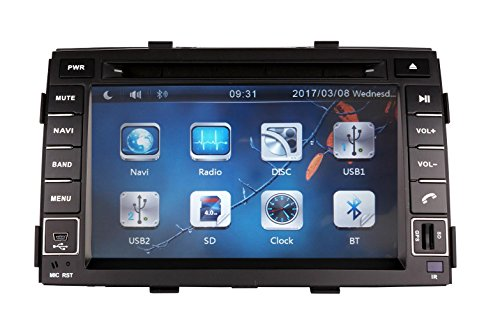 XTTEK 7 inch Touch Screen in dash Car GPS Navigation System for Kia Sorento 2011 2012 2013 DVD Player+Bluetooth SWC+Backup Camera+North America Map