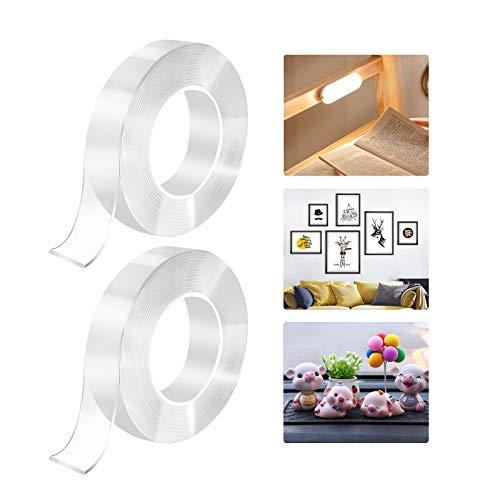 Nano Tape Nano klebeband Doppelseitig 10Mt Doppelseitiges Spurloses Klebeband Extra Stark Transparent Wiederverwendbar Waschbar und Rutschfest (2 Packs)