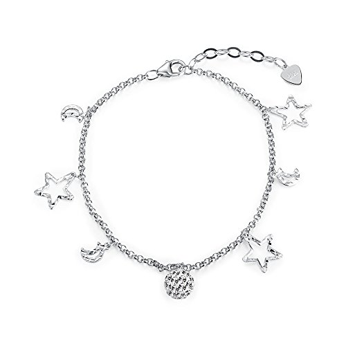 Nykkola - Pulsera de plata de ley 925 con colgante de bola de Shambhala con estrella y luna