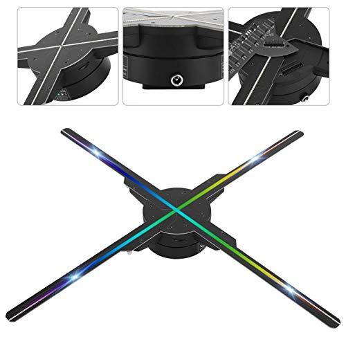 ASHATA Proyector Pantalla Holograma 3D, 50 cm 4 Cuchillas 576 Chips luz Máquina Publicidad proyección de Ventilador holográfica Tridimensional de Alta definición para Android WiFi (Negro)
