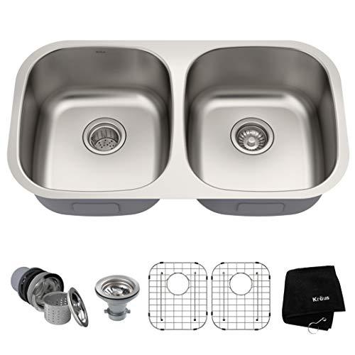 Kraus KBU22 32 inch Undermount 50/50 Double Bowl 16 gauge Stainless Steel Kitchen Sink